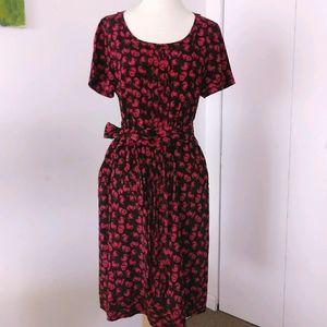NWT DKNY silk floral dress with self belt